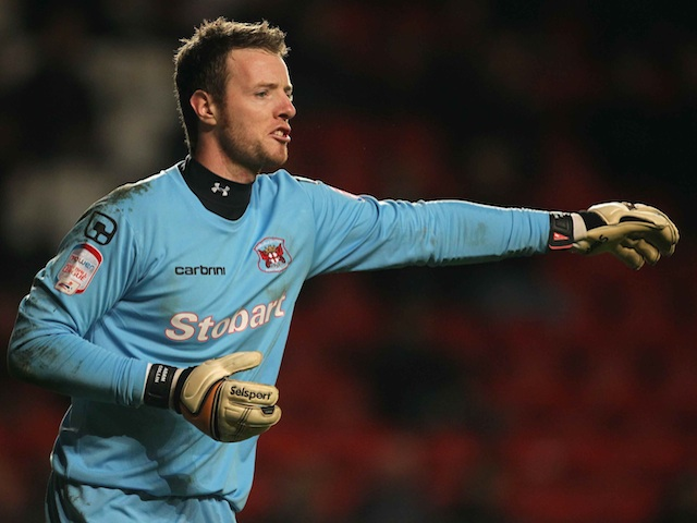Carlisle 'keeper Adam Collin playing against Charlton on December 3, 2011