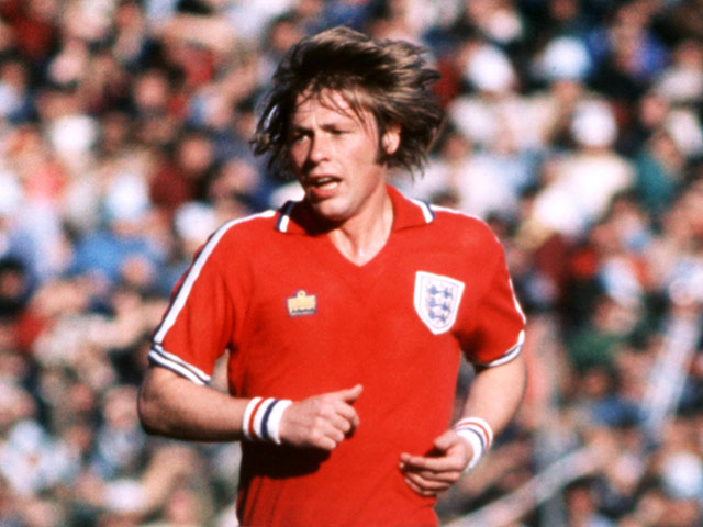 England's Brian Greenhoff in action on June 12, 1977