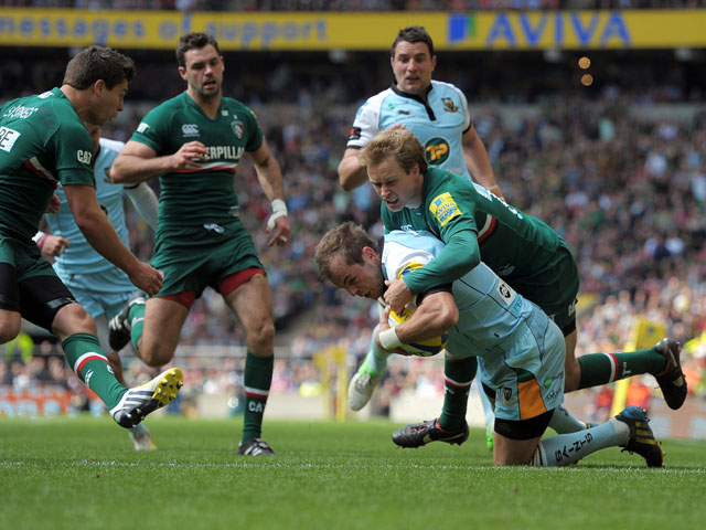 Northampton's Stephen Myler scores a try during the Aviva Premiership Final against Leicester Tigers on May 25, 2013