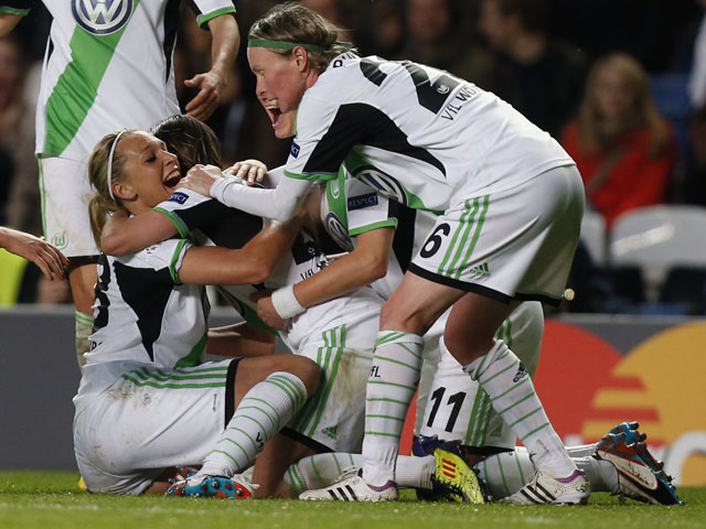 Wolfsburg's Martina Mueller celebrates scoring the only goal in the Women's Champions League Final against Lyon on May 23, 2013
