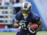 St Louis Ram's Isaiah Pead runs the ball during a practice session on May 23, 2013
