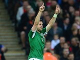 Ireland's Shane Long celebrates after scoring the opening goal against England on May 29, 2013