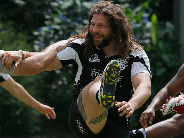 Barbarians' Martin Castrogiovanni during a training session on May 28, 2013