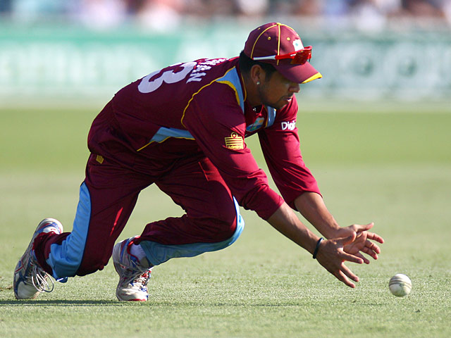 West Indies' Ramnaresh Sarwan in action on January 29, 2013