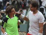 Spain's Rafael Nadal and compatriot David Ferrer congratulate each other after the men's final match of the French Open tennis tournament on June 9, 2013
