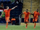 Players from the Netherlands celebrate after they scored a second goal against Russia during a UEFA European U21 Soccer Championship on June 9, 2013