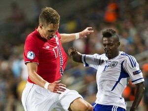 Israel''s Taleb Twatha duels for the ball with Norway''s Anders Konradssen during UEFA European U21 Soccer match on June 5, 2013