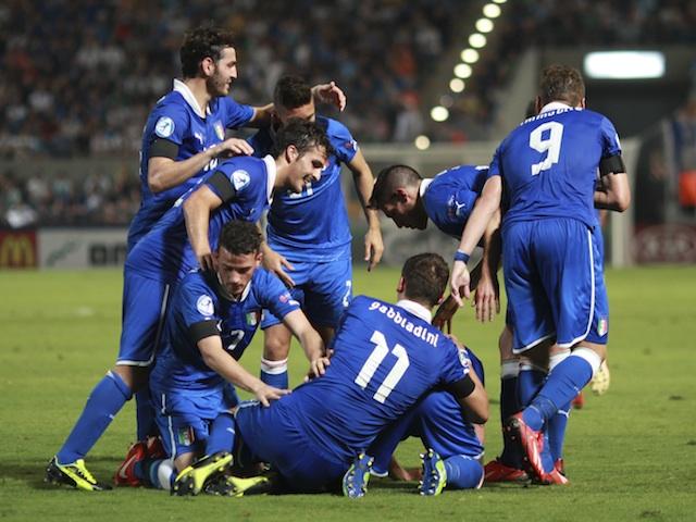 Italian players celebrate a goal against Israel on June 8, 2013