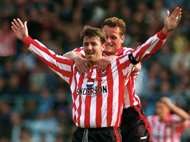Southampton legend Matt Le Tissier celebrates a goal against Coventry on October 13, 1996
