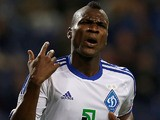 Dynamo Kiev's Ideye Brown celebrates after scoring against Porto on October 24, 2012