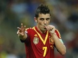 Spain's David Villa celebrates his sides 7th goal against Tahiti on June 20, 2013