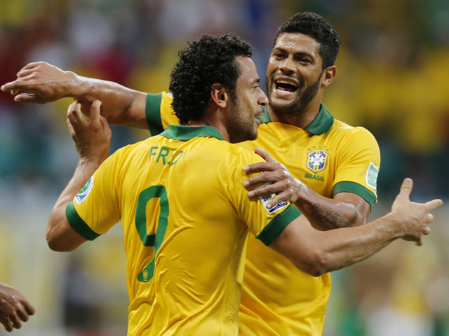 Brazil's Fred celebrates scoring his side's 3rd goal during the soccer Confederations Cup match between Italy and Brazil on June 22, 2013