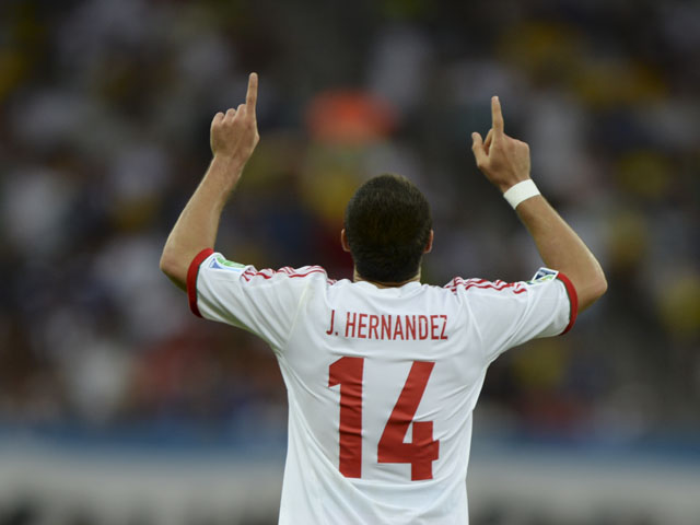 Mexico's Javier Hernandez celebrates after scoring against Japan during the Confederations Cup match on June 22, 2013