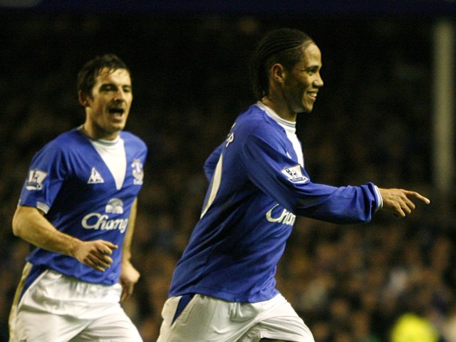 Leighton Baines and Steven Pienaar celebrate the latter's goal for Everton.