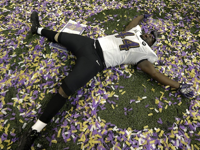 Ravens fullback Vonta Leach celebrates their Superbowl win over San Fran on February 3, 2013