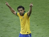 Brazil's Fred celebrates scoring against Uruguay during their Confederations Cup semi final match on June 26, 2013