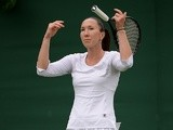 Jelena Jankovic reacts during her game with Johanna Konta on June 24, 2013