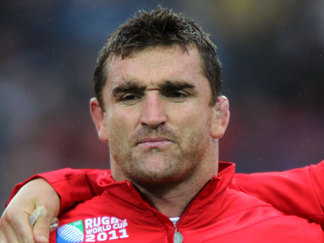 Wales player Huw Bennett prior to the start of the match against Fiji on October 2, 2011