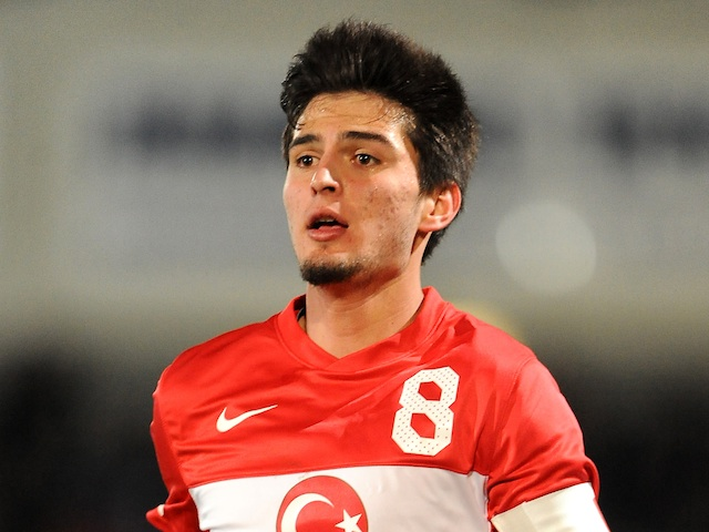 Young Turkish player Okay Yokuslu in action against England on January 11, 2008