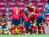 Spain's Jese is mobbed by team mates after scoring the winner against Mexico during the U20 World Cup on July 2, 2013