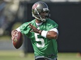Tampa Bay Buccaneers quarterback Josh Freeman during a training workout on May 20, 2013