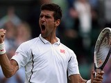 Novak Djokovic reacts after beating Tommy Haas during their Wimbledon match on July 1, 2013