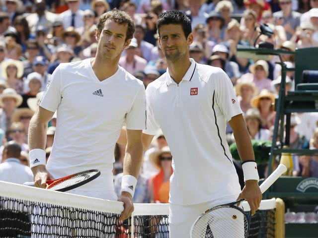 Andy Murray and Novak Djokovic pose for a picture before the men's final at Wimbledon.