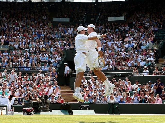 Bob and Mike Bryan celebrate reaching another Men's Doubles final on July 4, 2013