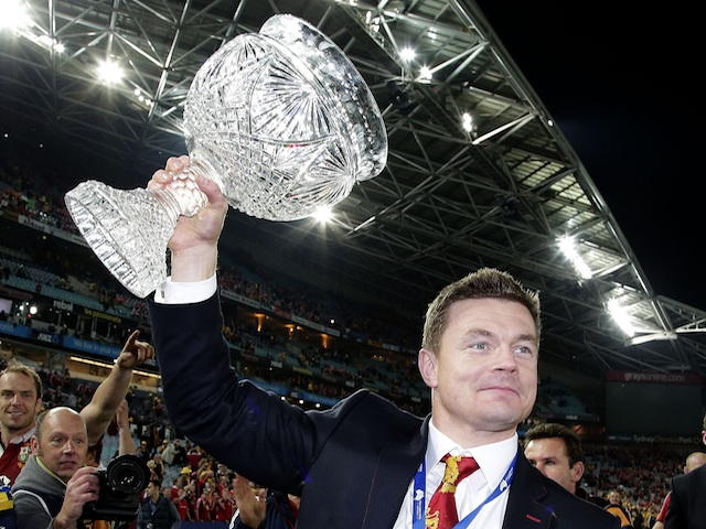 Brian O'Driscoll celebrates beating Australia on July 6, 2013