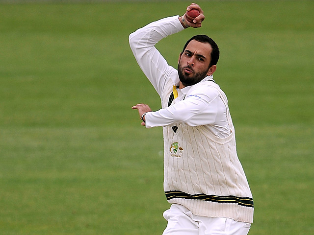 Australia's Fawad Ahmed in action on June 22, 2013