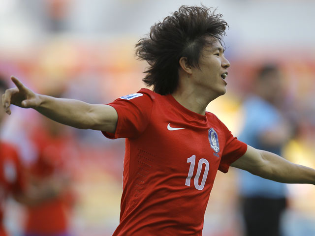 South Korea's Kwon Changhoon celebrates after scoring the 1-1 equalizer during the Under-20 World Cup quarterfinal soccer match between Iraq and South Korea on July 7, 2013