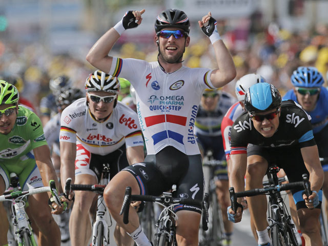 Britain's Marc Cavendish crosses the finish line to win the fifth stage of the Tour de France on July 3, 2013