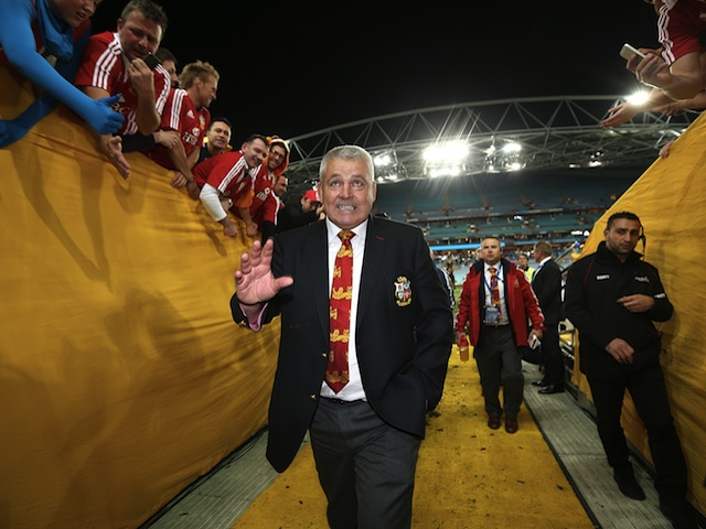 Warren Gatland walks from the pitch after series win over Australia on July 6, 2013