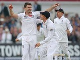 England's bowler James Anderson celebrates taking wicket of Australia's Chris Roders during day one of the first Ashes test on July 10, 2013