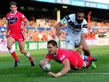 Wakefield Wildcats' Dean Collis goes over for a try against Widnes Vikings on July 8, 2013