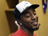 New York Giant Hakeem Nicks in the locker room after a Giants minicamp on June 13, 2013