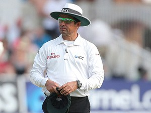 Umpire Aleem Dar during day three of the First Ashes Test match at Trent Bridge on July 12, 2013