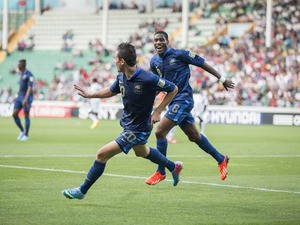 France's Florian Thauvin celebrates scoring during the Under-20 World Cup semi final match against Ghana on July 10, 2013