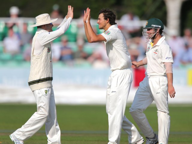 Ashton Agar celebrates bowling out Nick Compton.