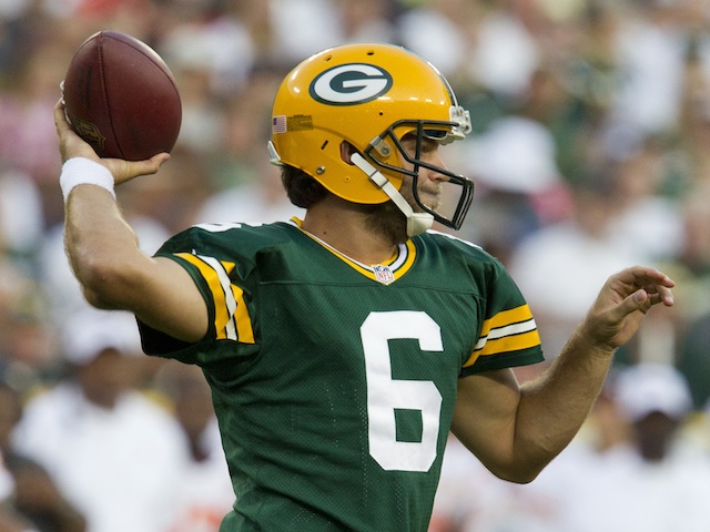 Packers' Graham Harrell in action against Kansas City on August 30, 2012