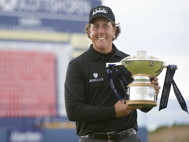 Phil Mickelson with the Scottish Open trophy on July 14, 2013