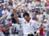 Ian Bell celebrates scoring a century against Australia at Trent Bridge.