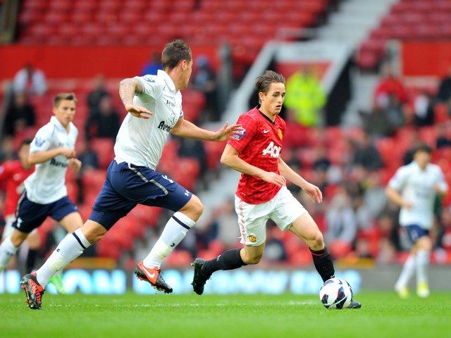 Adnan Januzaj keeps possession against Tottenham Hotspur.