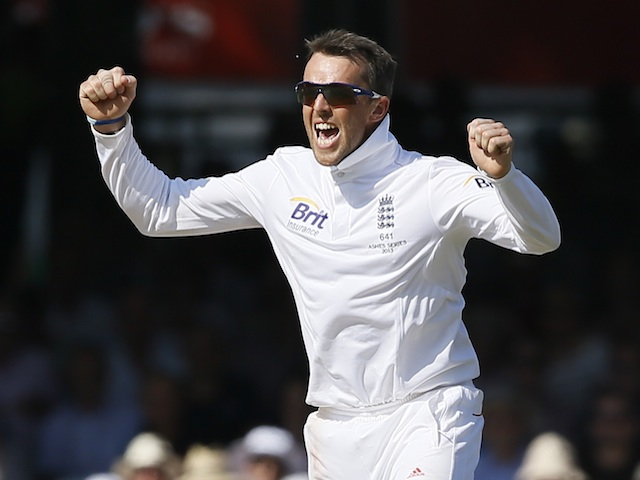 Graeme Swann celebrates one of his five wickets against Australia on July 19, 2013
