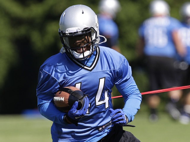 Detroit's Jahvid Best at practice on June 14, 2013