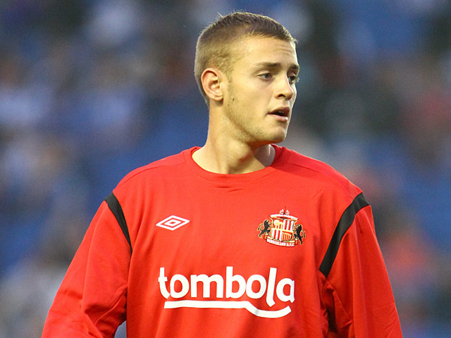 Sunderland's Louis Laing during a warm up on August 23, 2011