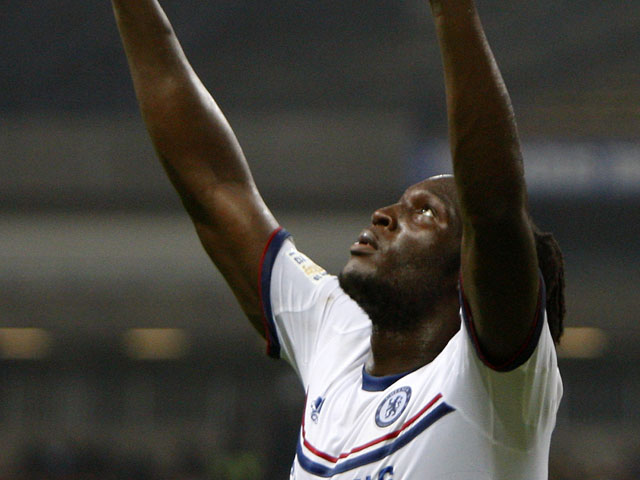 Chelsea's Romelu Lukaku celebrates after scoring the third goal against Malaysia XI during their friendly soccer match on July 21, 2013