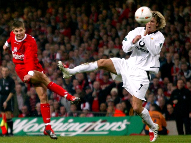 The midfielder gets among the goals as Liverpool beat rivals Manchester United 2-0 in the 2003 League Cup final.