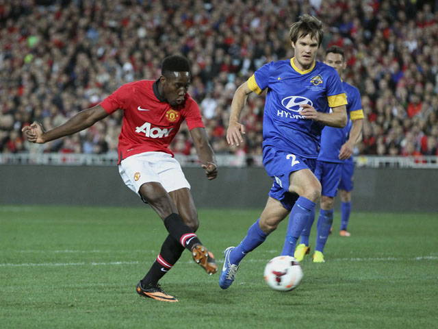 Manchester United's Danny Welbeck shoots during the match against Sydney Allstars on July 20, 2013