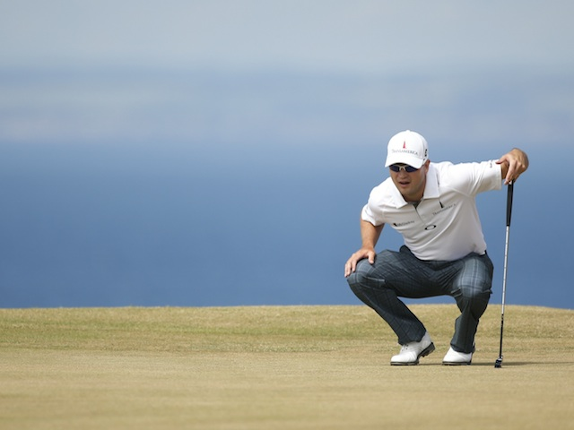 Zach Johnson on the green at the British Open on July 18, 2013